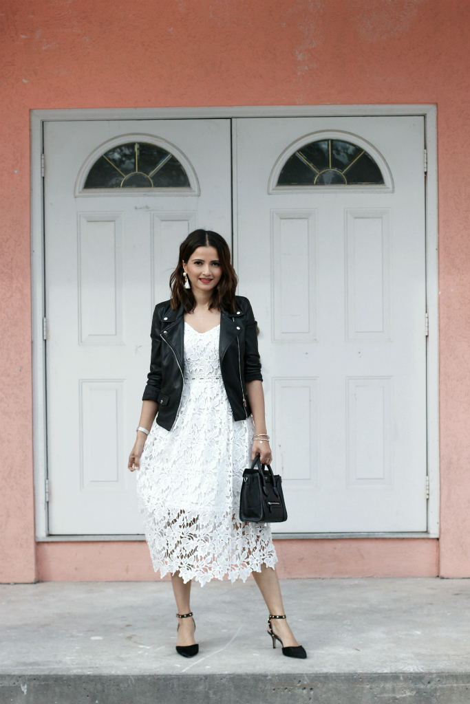 black leather jacket white lace crochet dress black studded heels blogger outfit