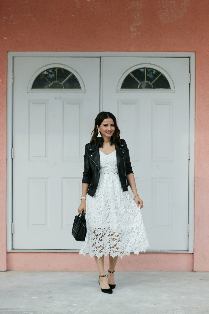 black leather jacket white lace crochet dress black studded heels blogger outfit Celine Nano Luggage Tote in Black