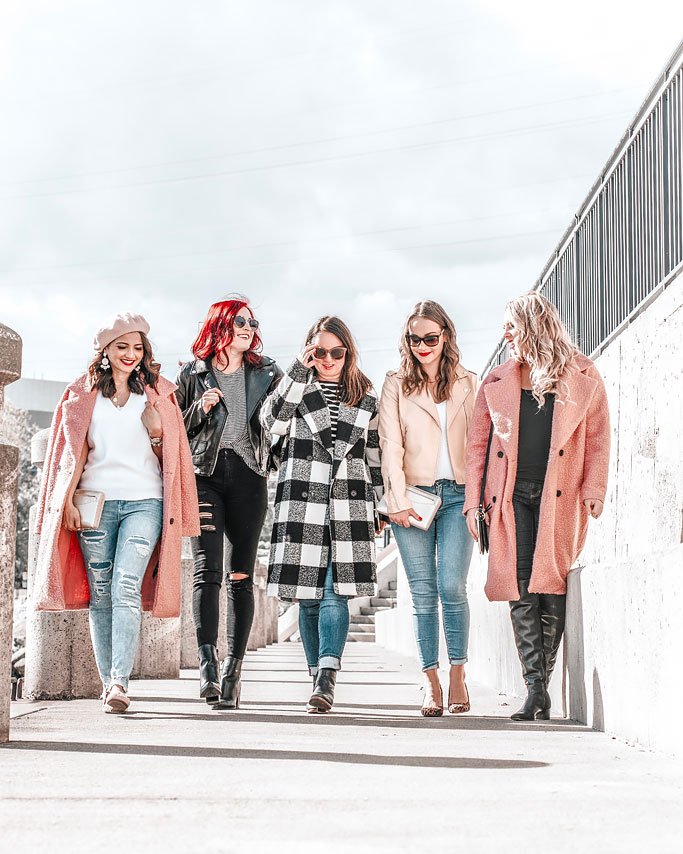 Blogger Group photo wearing NOIZE Kort Coat and NOIZE moto jackets