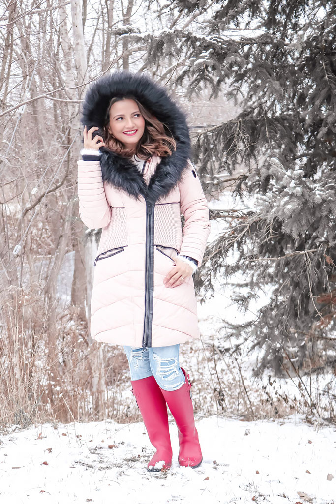 Noize Coco Jacket in Blush Pink Blogger Outfit Pink Winter Coat Red Rainboots
