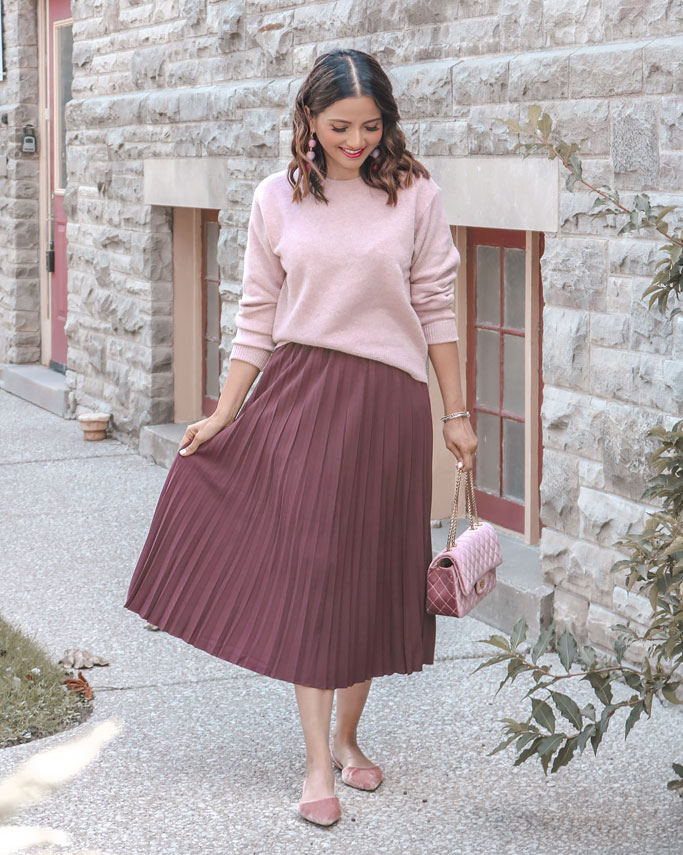 Pink Uniqlo Sweater Burgundy Pleated Midi Skirt Velvet Quilted Chanel Dupe bag Blogger Outfit