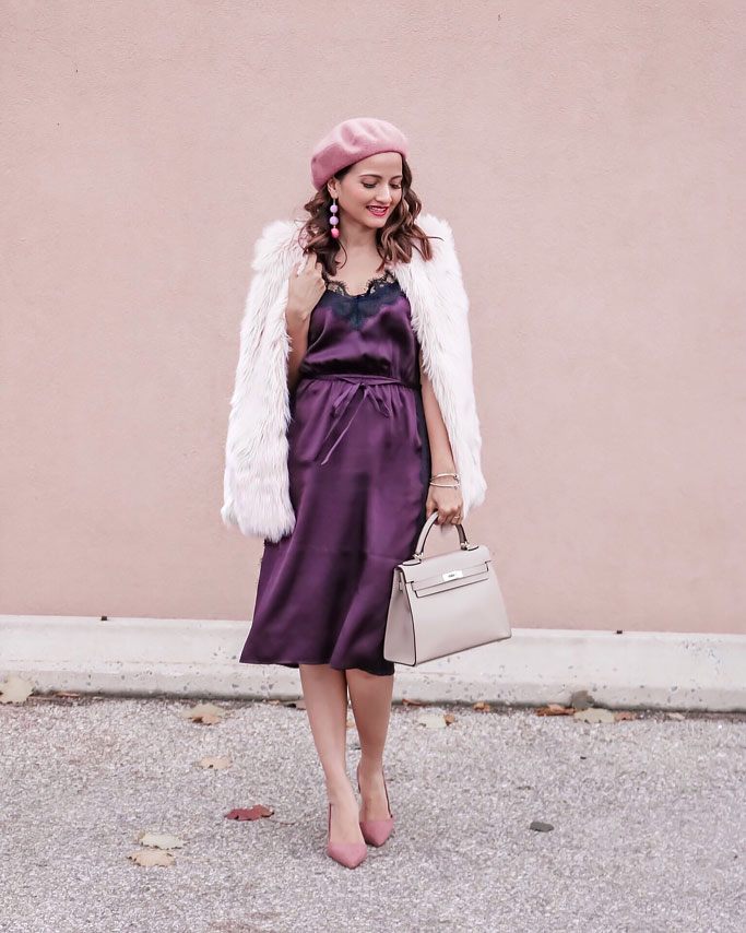 Pink-fur-veast-Berry-Lace-slip-dress-Hermes-Kelly-Dupe-Bag-Pink-Beret-Blogger-Outfit