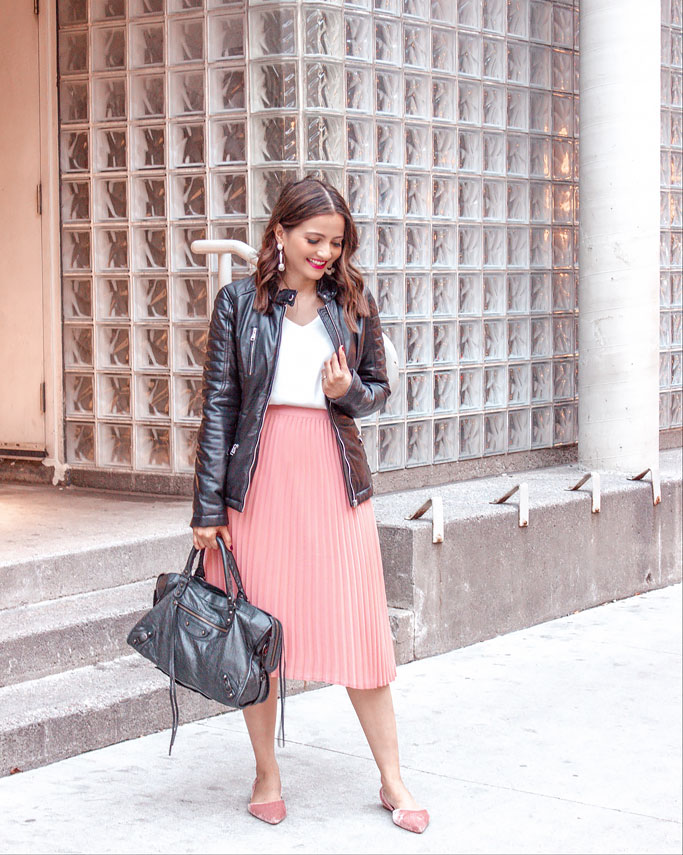Black Moto Jacket Pink Peach Pleated Midi Skirt Blogger Outfit