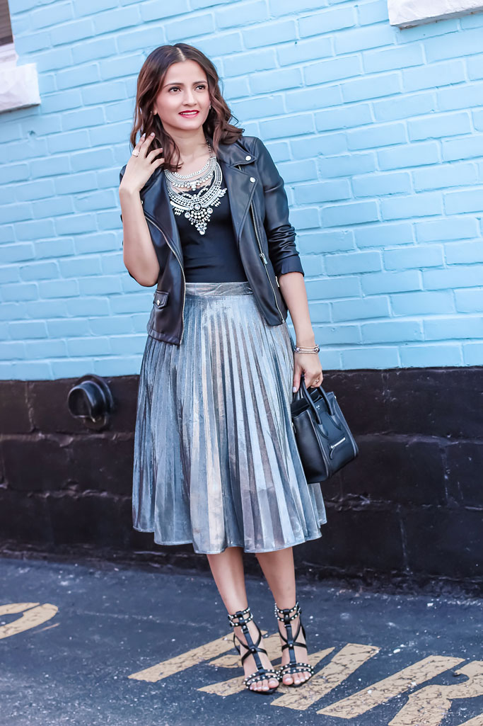 Blogger Outfit Black Moto Jacket Silver Pleated Midi Skirt Celine Black Nano Luggage Bag