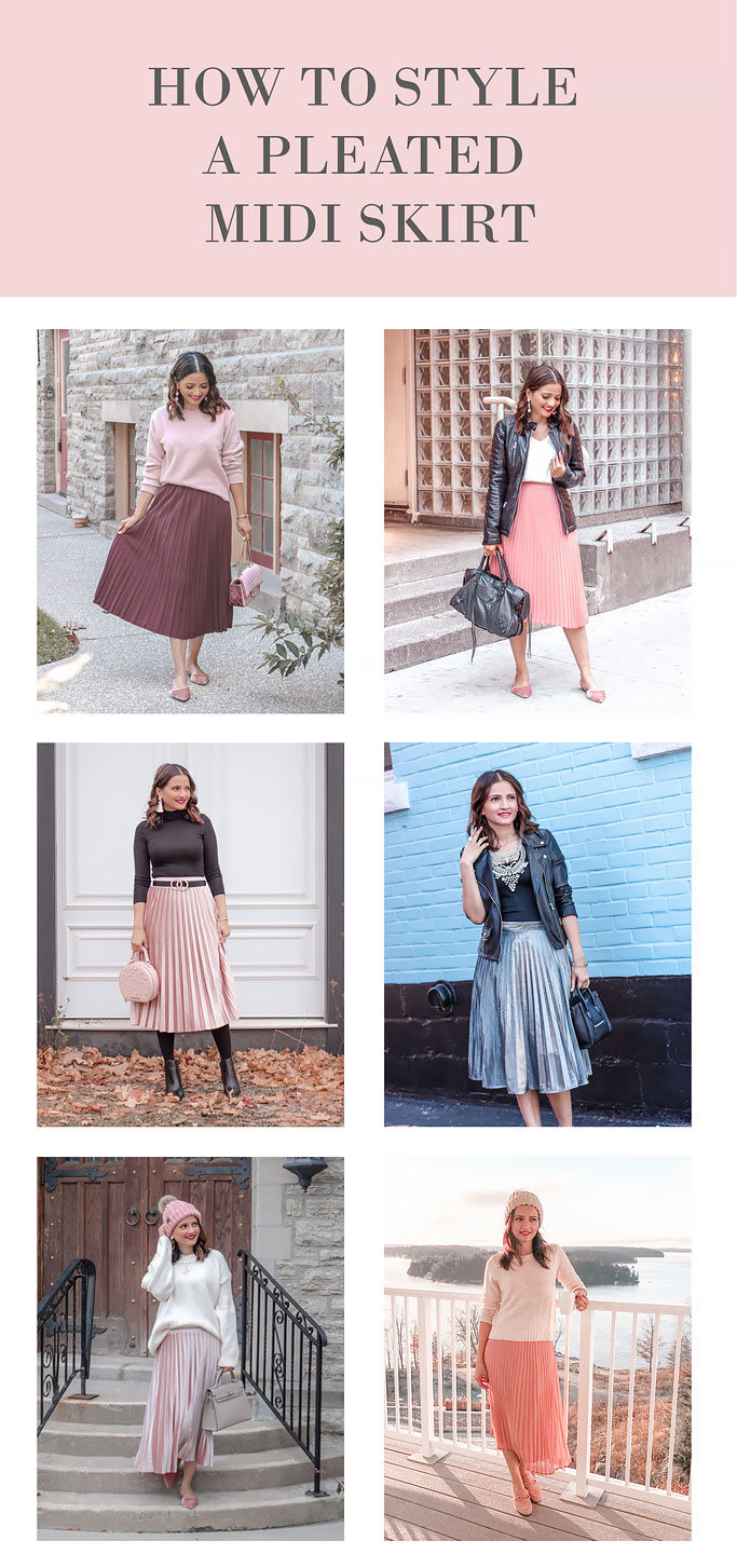 How to style a pleated midi skirt blogger outfit ideas and tips