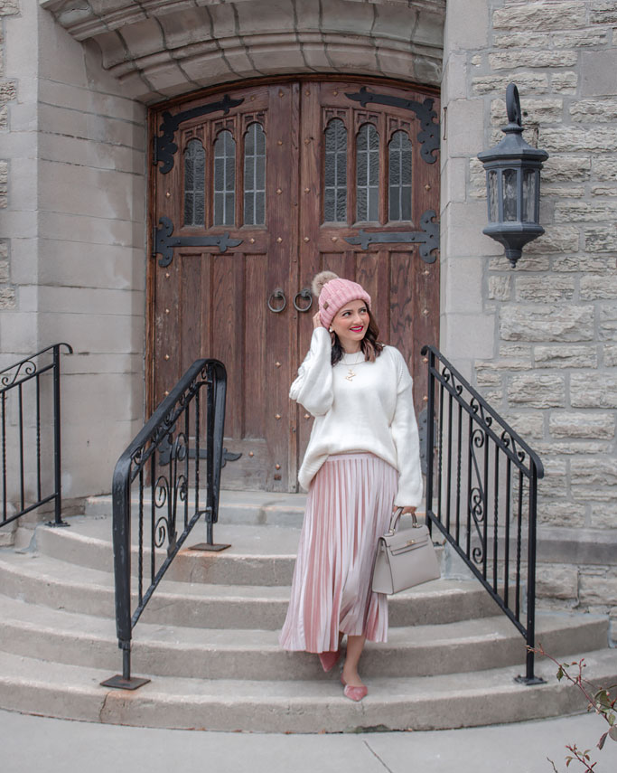 White Sweater Pink Velvet Pleated Midi Skirt Blogger Outfit Hermes Kelly Dupe bag