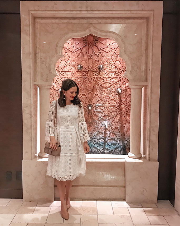 Detox-Vinopure-Facial-at-Miraj-Caudalie-Hammam-Spa-Shangri-La-Toronto Marble Fountain White Lace Dress Gucci Marmont Mini Blogger Outfit
