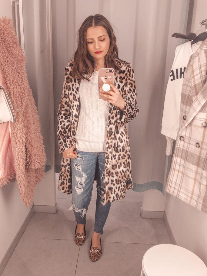 H&M Leopard Print Faux Fur Coat