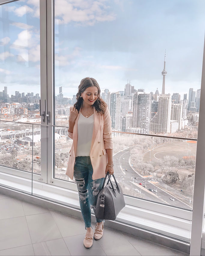 Ella Pretty Blog Pink Blazer Givenchy Medium Antigona Bag Blogger Outfit Hotel X Rooftop View