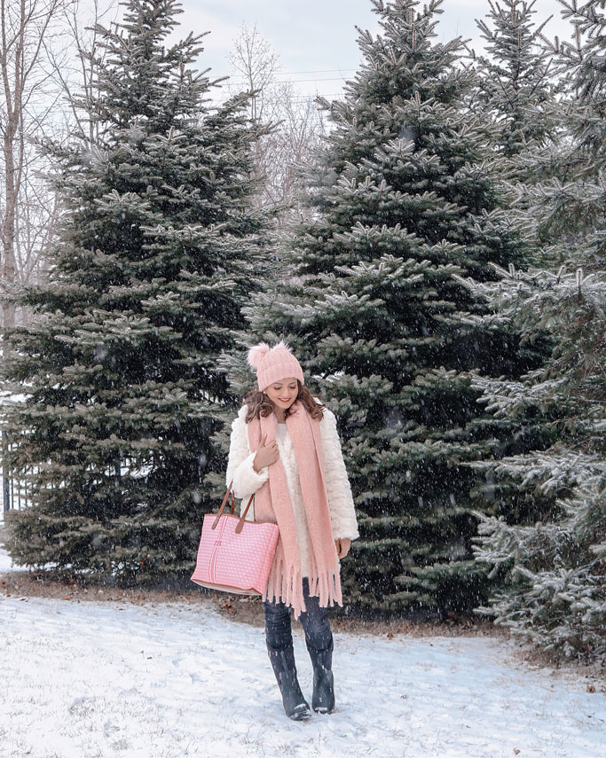 White Faux Fur Jacket Pink Scarf Blogger Outfit Bogs Adult Womens Classic Boots Barringtons St Annes Tote