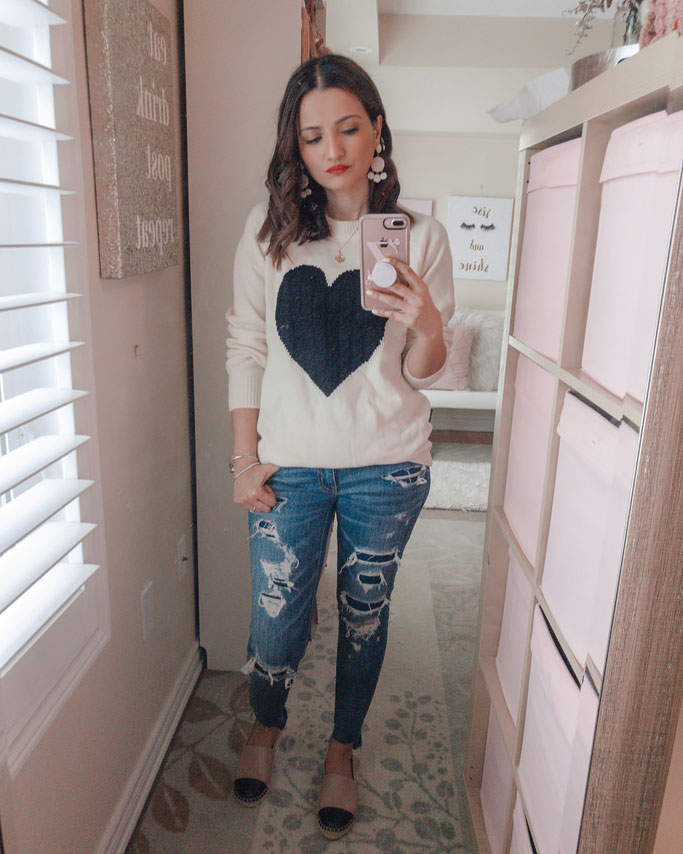 Amazon Cream Sweater Black Heart Distressed Jeans Blogger Outfit