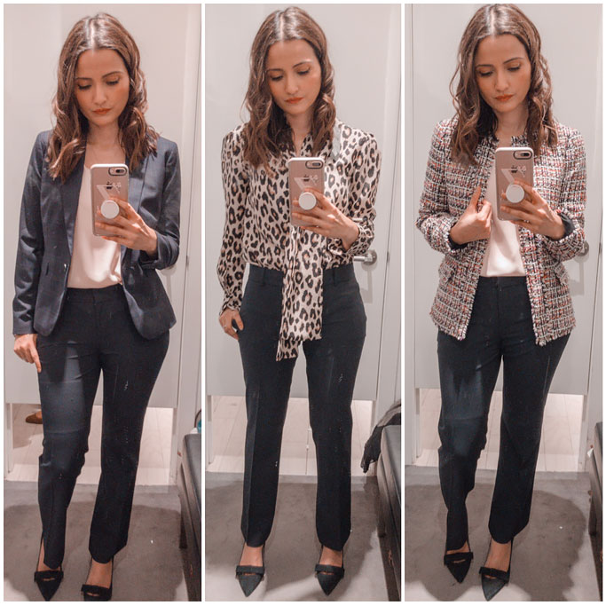 Ann-Taylor-Blogger-Outfit-Seasonless-Stretch-Trouser--One-Button-Perfect-Windowpane-Blazer-Fringe-Tweed-Peplum-Jacket-Leopard-Print-Spotted-Bow-Blouse