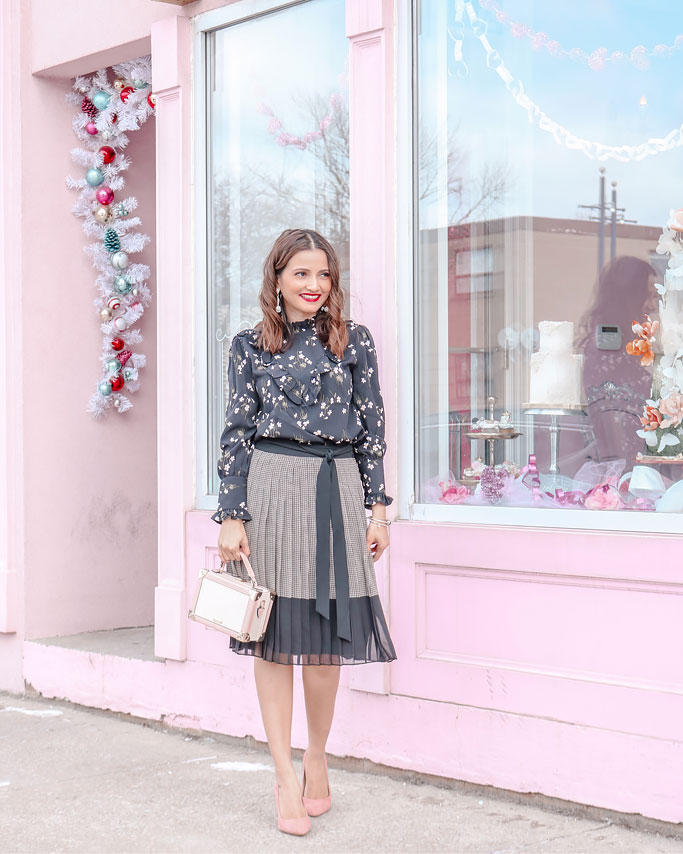 Ann-Taylor-Plaid-Tie-Waist-Pleated-Skirt--Floral-Ruffle-Mock-Neck-Blouse-Blogger-Outfit
