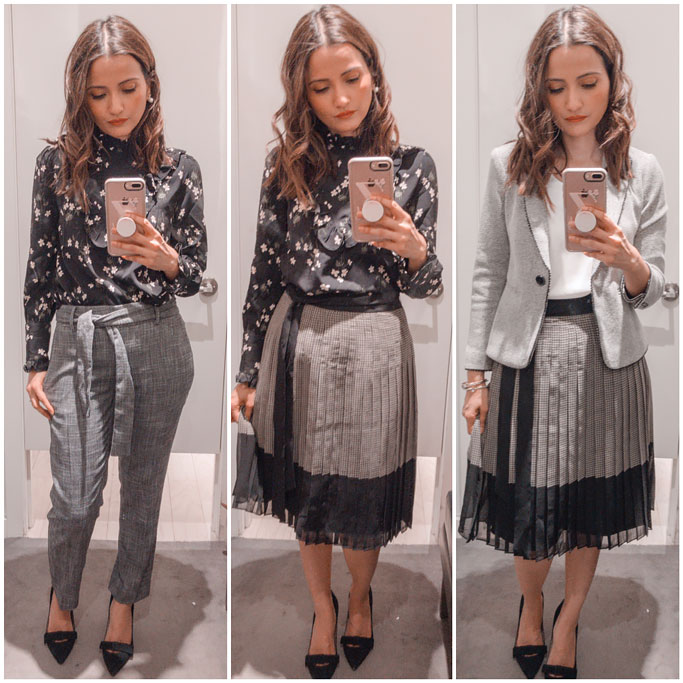 Ann-Taylor-Plaid-Tie-Waist-Pleated-Skirt--Floral-Ruffle-Mock-Neck-Blouse-Tie-Waist-Drapey-Ankle-Pants-Piped-Herringbone-Jacket-Blogger-Outfit
