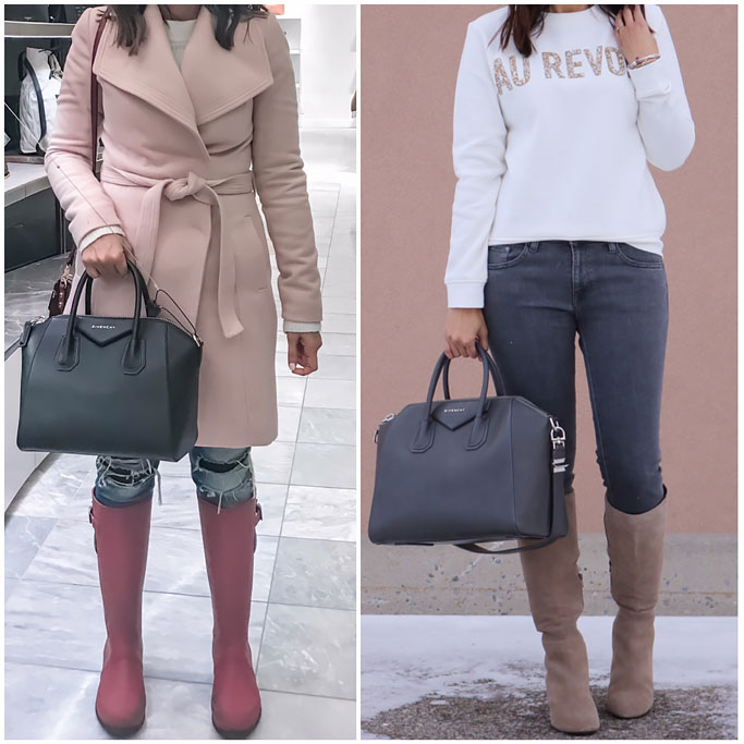 Givenchy Antigona Small versus Medium size Comparison Duffel Handbag Review Blogger Outfit Au Revoir Sweatshirt H&M