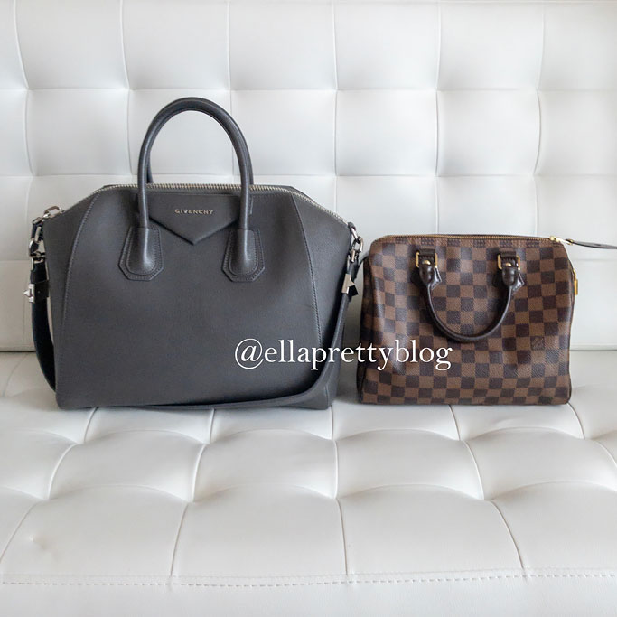 Givenchy Antigona Medium size Comparison versus Louis Vuitton Speedy 25 Damier Ebene Duffel Handbag Review Blogger Outfit Au Revoir Sweatshirt H&M