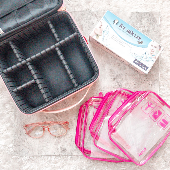 Amazon Pink Makeup Bag Ice Roller Pink Blue Light Glasses