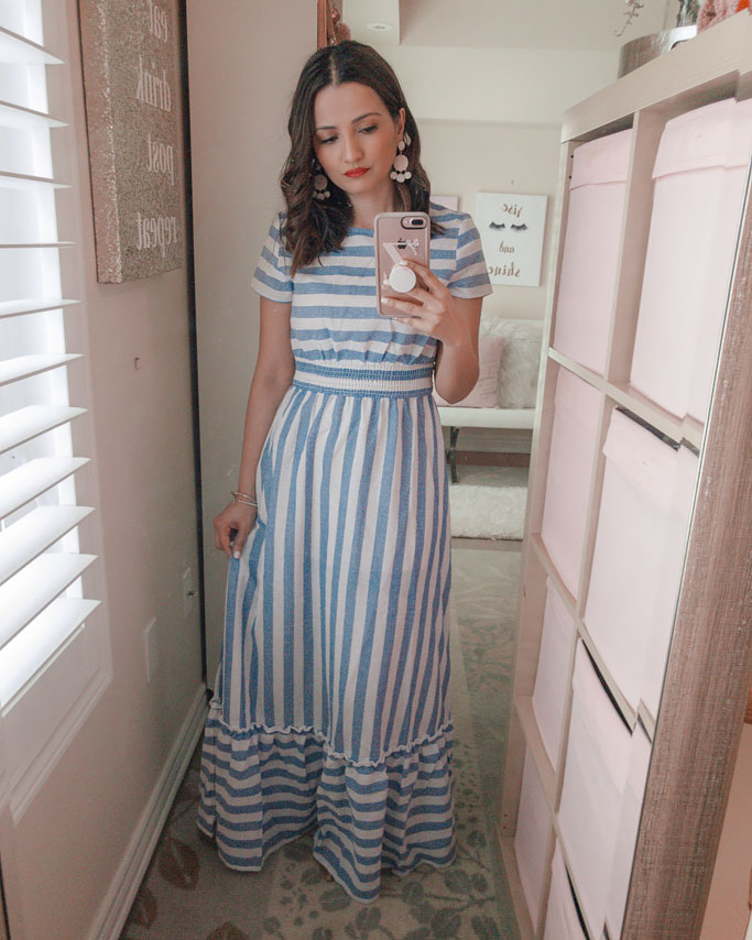 Shein Blue Stripe Blogger Maxi Dress Outfit