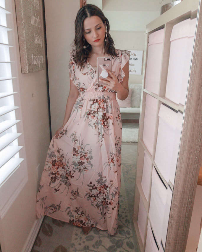 Shein Pink Floral Blogger Maxi Dress Outfit