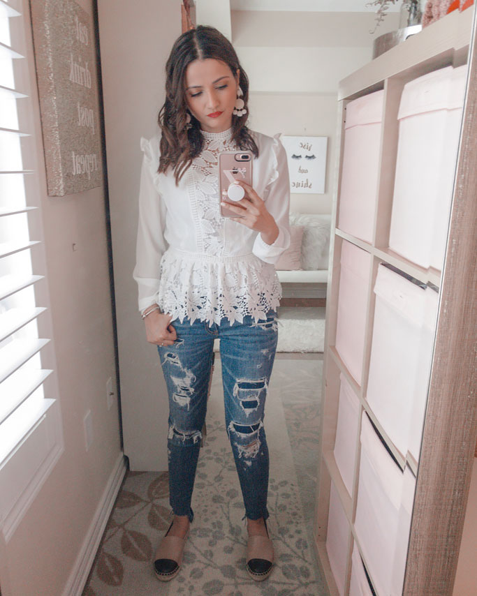 Shein White Lace Shirt Distressed Jeans Blogger Outfit