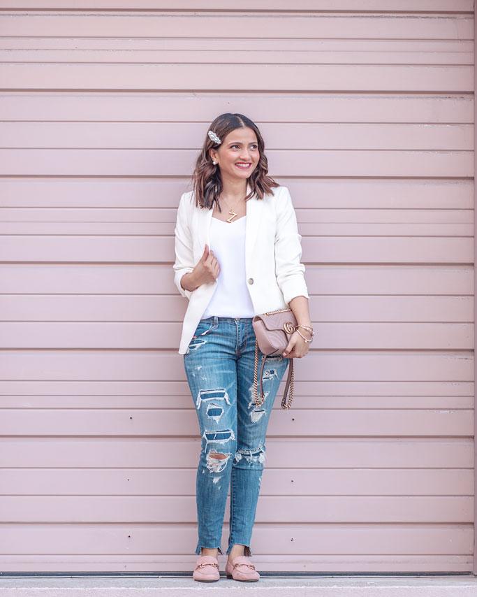Ann-Taylor-Bi-Stretch-Cream Hutton DoubleWeave Blazer Winter White-Blogger-Outfit