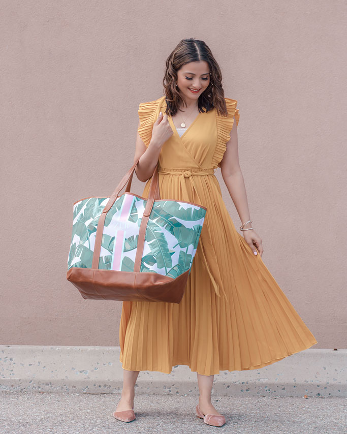 Mustard Yellow Midi Dress St. Charles Yacht Tote Pink Palm Print Monogram Blogger Outfit