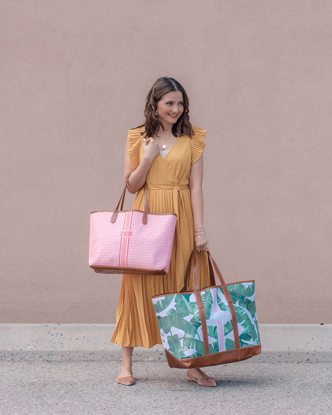 Mustard Yellow Midi Dress St. Charles Yacht Tote Pink Palm Print Monogram compared to St. Anne Tote Pink Geometric Print Monogram Stripe Blogger Outfit