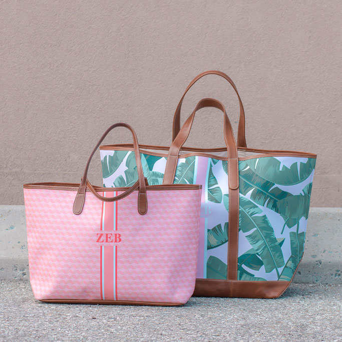 ustard Yellow Midi Dress St. Charles Yacht Tote Pink Palm Print Monogram compared to St. Anne Tote Pink Geometric Print Monogram Stripe Blogger
