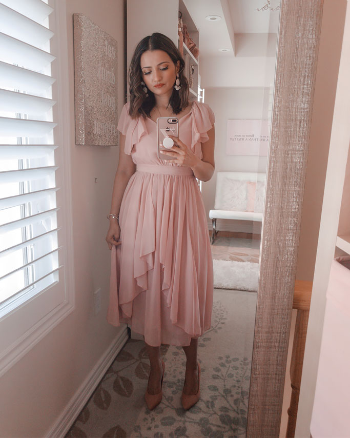 Shein-Pink-Ruffle-Dress-Blogger-Outfit