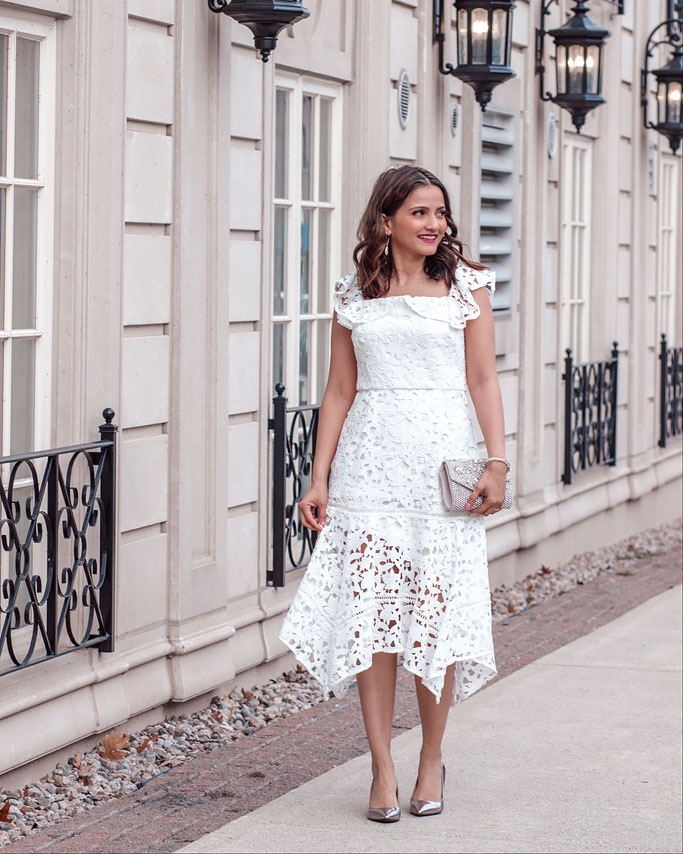 Ever-New-White-Lace-Dress-Blogger-Outfit Kristy Bardot Hanky Hem Dress