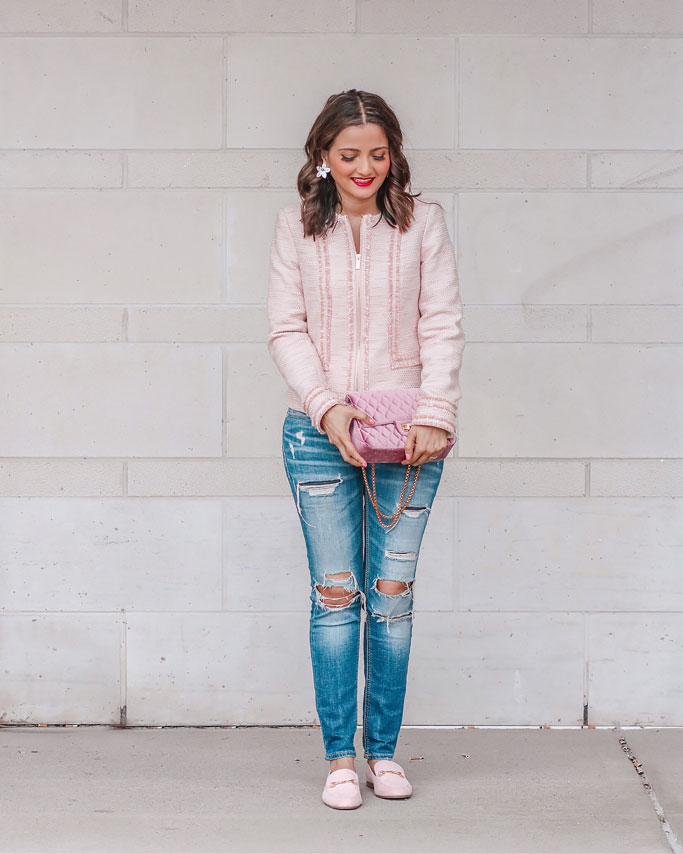 Pink-Tweed-Jacket-Distressed-Jeans-Blogger-Outfit Karl Lagerfeld Paris Textured Fringe Cotton Blend Jacket