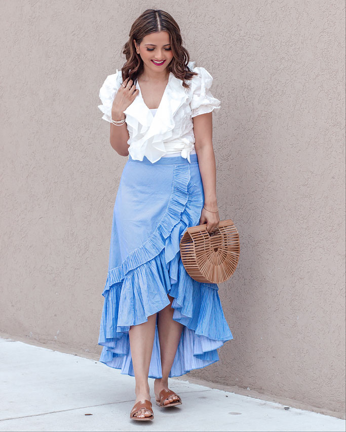 White-Ruffled-Wrap-Top-Blue-Applause-of-Ruffle-Tiered-Frill-Hem-Skirt-in-Blue-Stripes-Ruffled-Skirt-Chicwish-Blogger-Outfit Cult Gaia Dupe Bag