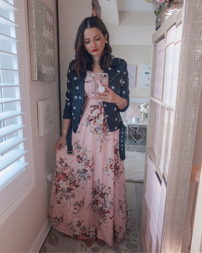 Tips on how to style a maxi dress blogger outfit - Star print faux leather moto jacket floral print shein maxi dress