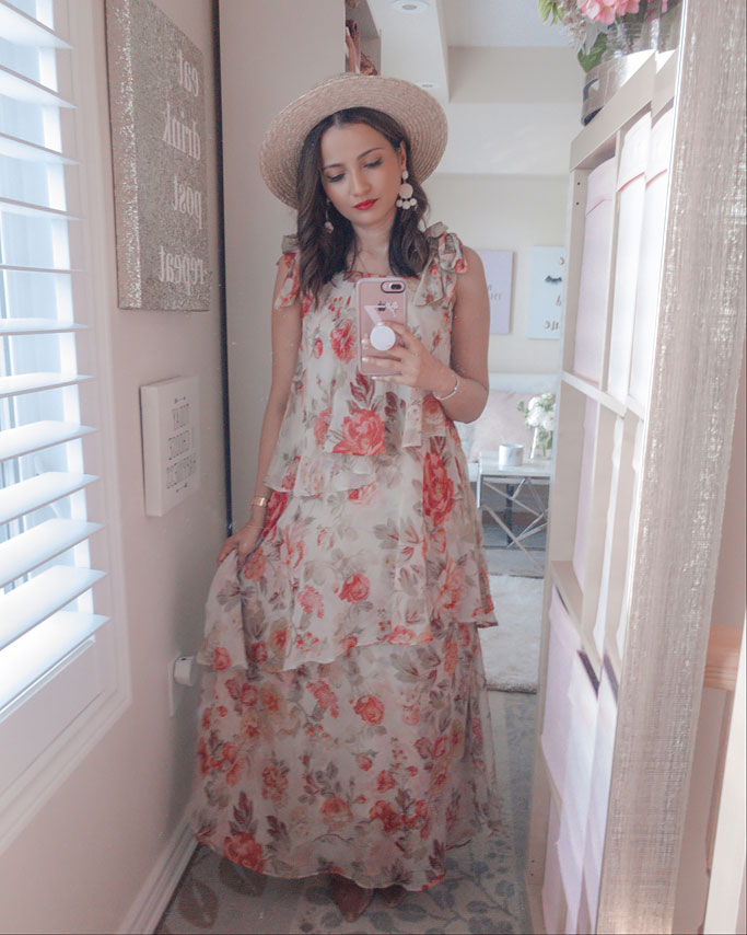 Tips on how to style a maxi dress blogger outfit - H&M zimmerman dupe tiered dusky floral printmaxi dress straw hat