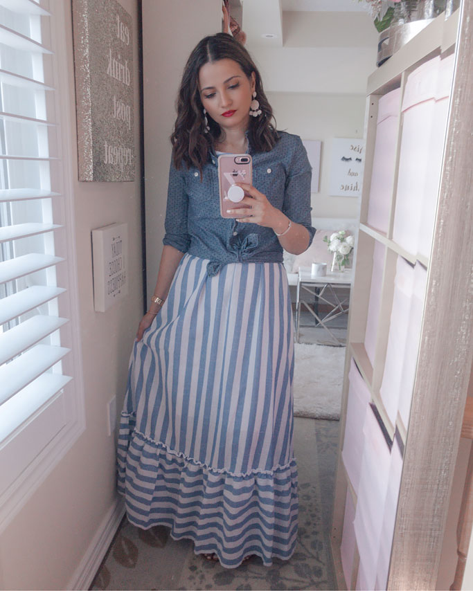 Tips on how to style a maxi dress blogger outfit - Blue Striped maxi dress Chambray shirt