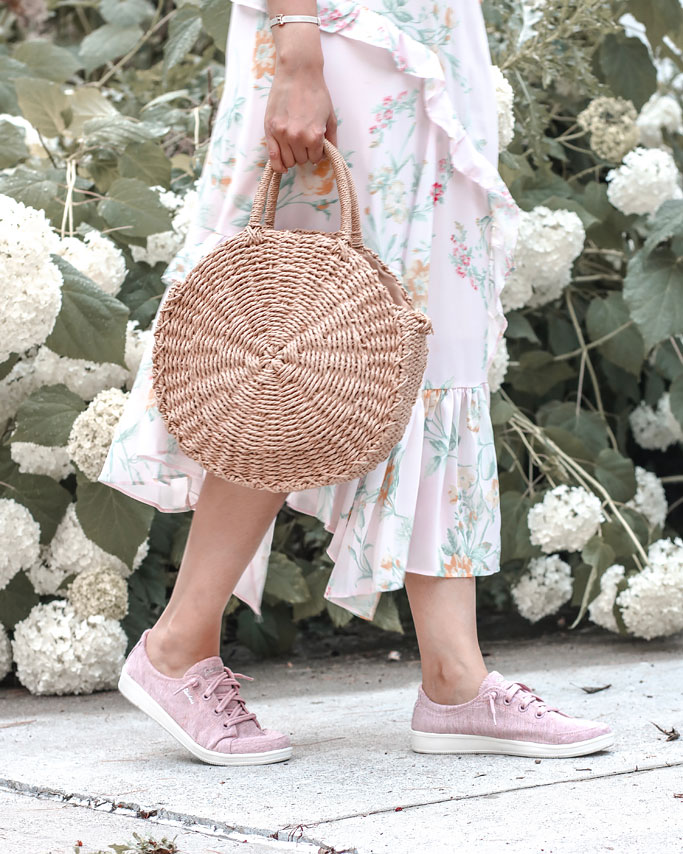 Skechers Madison Ave Inner City Sneakers in Pink Ruffle Dress Straw Circle Bag Pearl Clips Blogger Outfit