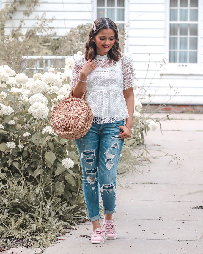 Skechers Madison Ave Inner City Sneakers in Pink Lace Crochet Ruffle Top Distressed Jeans Straw Circle Bag Pearl Clips Blogger Outfit