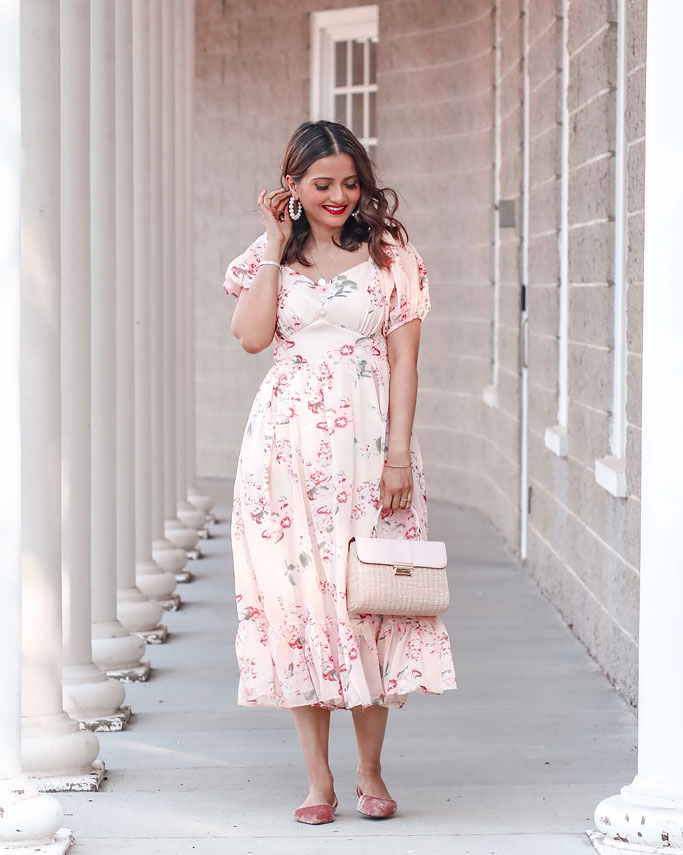 Pink peony chicwish dress blogger outfit pink straw bag pink shoes
