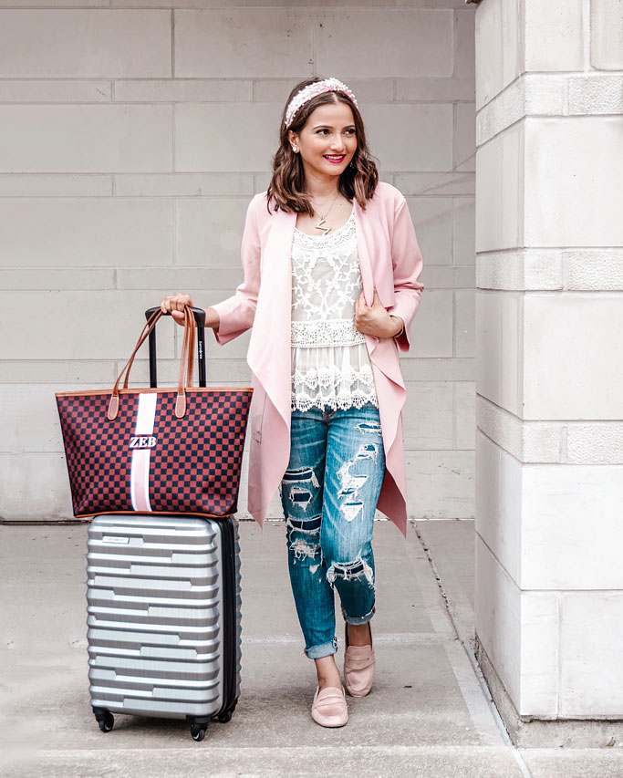 Barrington Gifts St. Anne Zippered Tote Bag Review Pink Wrap Coat Shein Lace Top Pink Loafers Travel Outfit Silver Samsonite