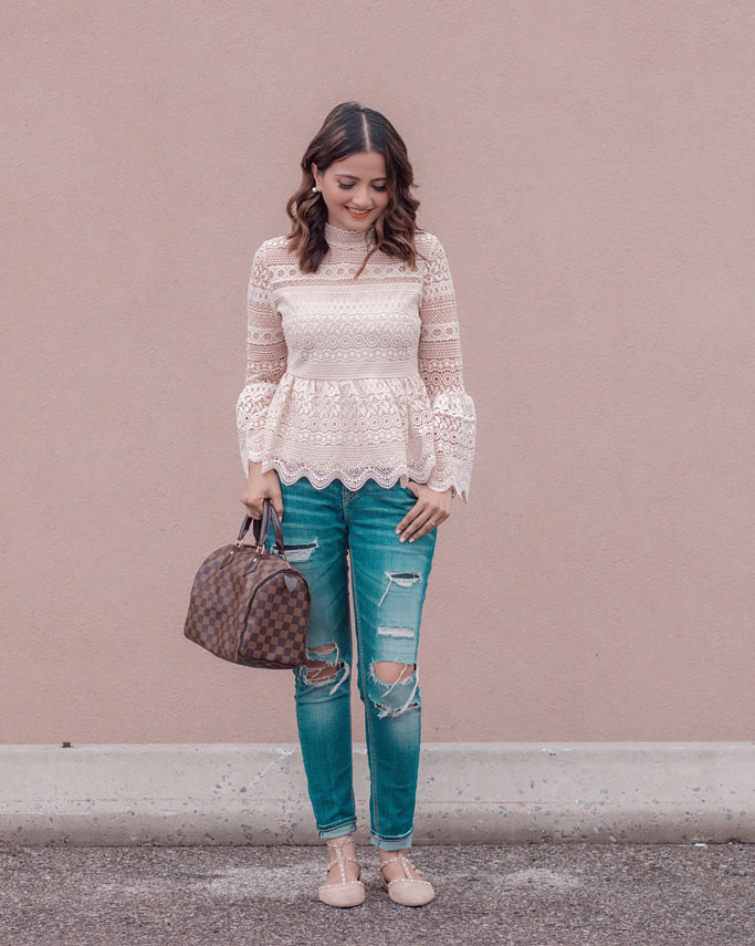 Cream Lace Crochet Top Distressed Jeans Blogger Outfit