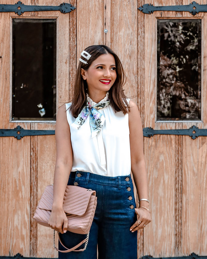 How to Style a Skinny Scarf Ann Taylor Sailor Wide Leg Jeans BCA Silk Floral Skinny Scarf Rebecca Minkoff Large Edie Bag in Doe  Blogger Outfit