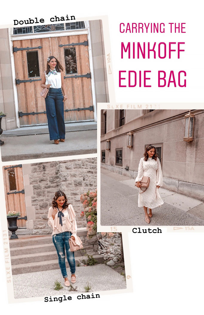 How to Style A Rebecca Minkoff Edie Large Shoulder Bag Double Chain Single Chain Clutch
