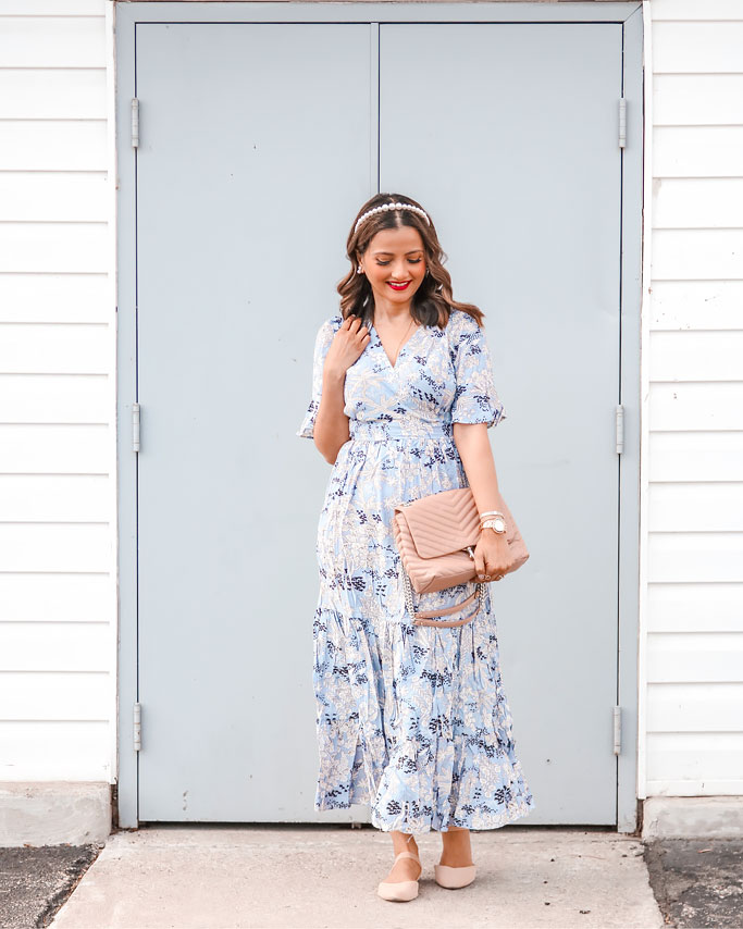 Rebecca Minkoff Edie Bag in Doe Blue Floral Chicwish Dress Blogger Outfit