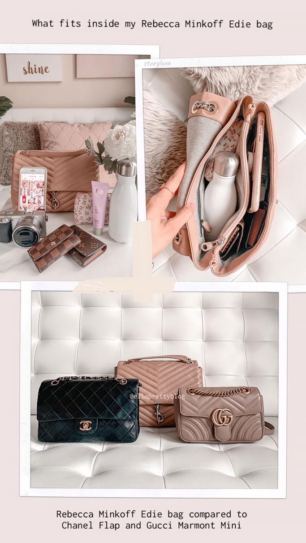 Bag-Review-Rebecca-Minkoff-Edie-Flap-Shoulder-Bag-What-fits-inside-comparison-Chanel Flap Gucci Marmont Mini