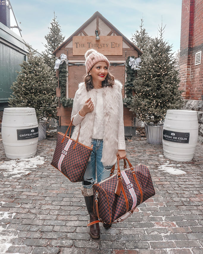 Barrington Gifts Belmont Cabin Bag Brown Chequers St. Anne Tote LV Keepall Duffle Bag Neverfull dupe Blogger Outfit Pink faux fur vest