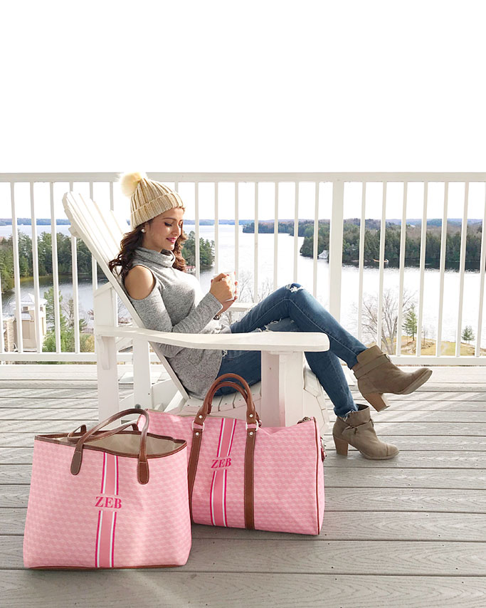 Barrington Gifts Belmont Cabin Bag Brown Chequers St. Anne Tote LV Keepall Duffle Bag Neverfull dupe Blogger Outfit Pink