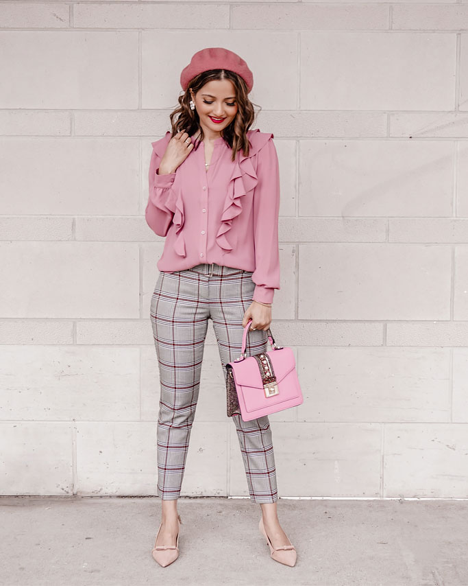 Pink Workwear Outfit: Ruffles and Plaid with Ann Taylor
