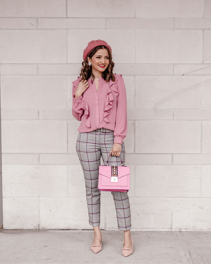 Pink Ruffle Blouse Grey Plaid Pants Pink Bow Heels Ann Taylor Blogger Outfit Workwear inspo