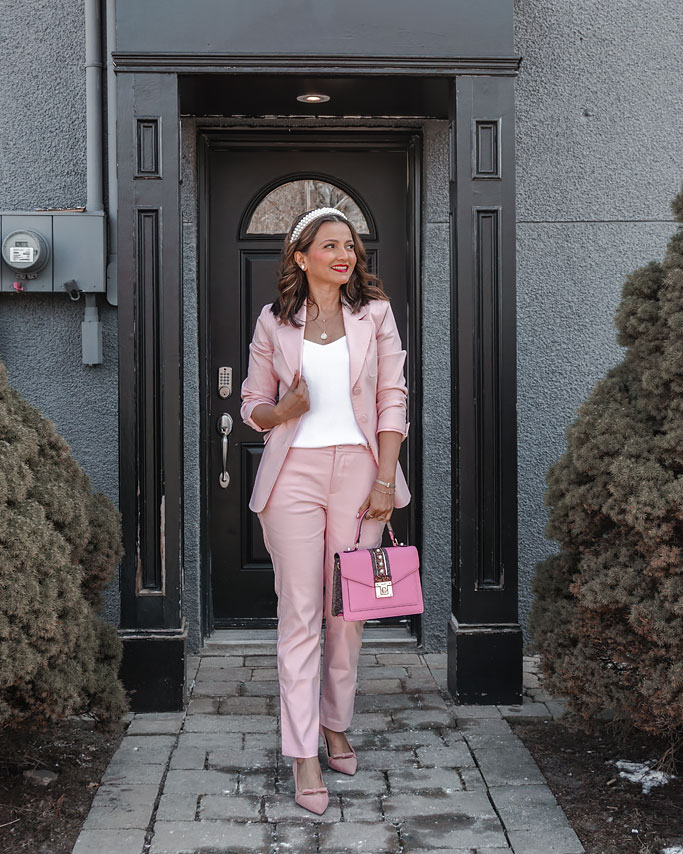 Styling a Pastel Pink Suit