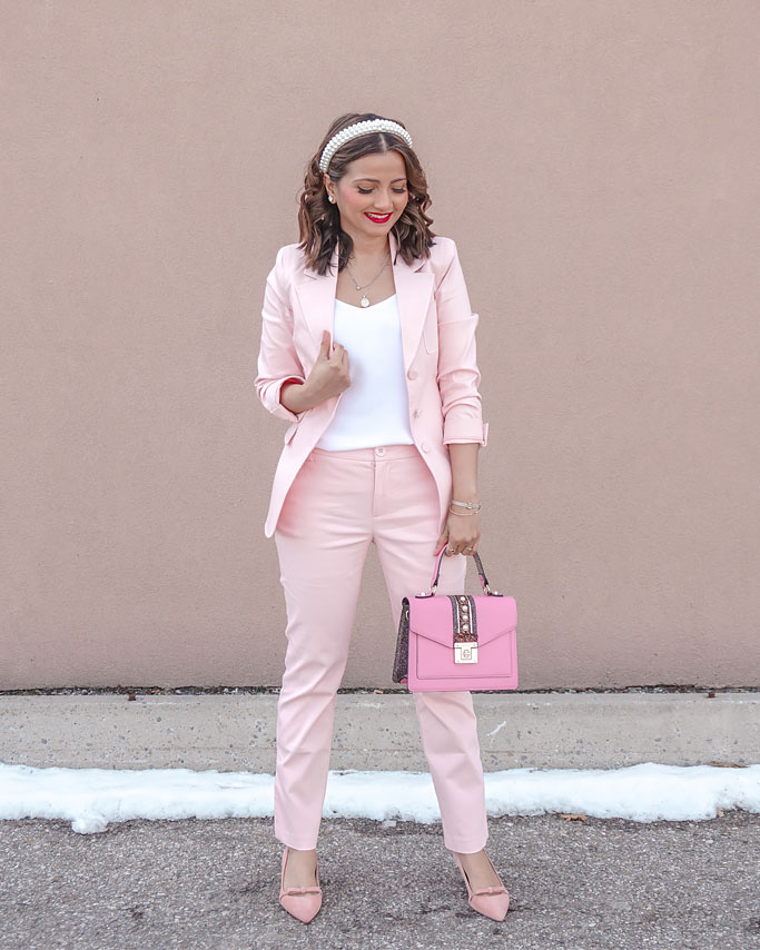 Cabi-Clothing-Pastel Pink-Suit-Grace-Blazer-and-Trouser-in-Carnation Blogger Outfit